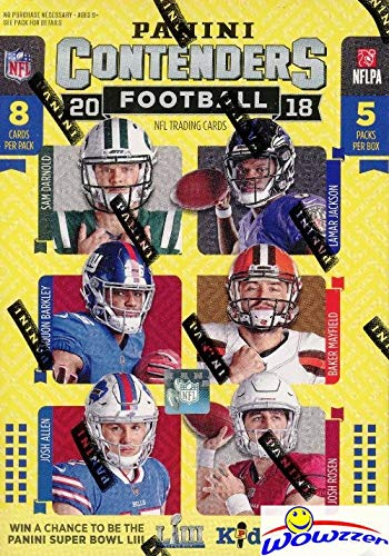 (2018 Panini Contenders NFL Football EXCLUSIVE Factory Sealed Retail Box with AUTOGRAPH or MEMORABILIA Card! Look for RCs & Autos of Baker Mayfield, Saquon Barkley, Sam Darnold & Many More!)