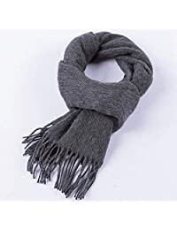 Winter warm scarf soft and comfortable cashmere scarf, solid color with tassel 180 * 30cm (Color : Chrome)
