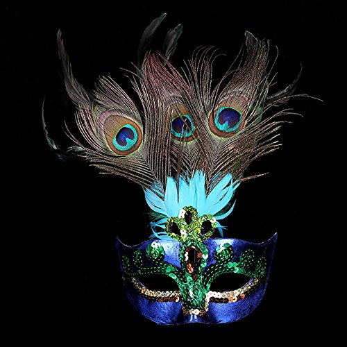 Masquerade mask, Women Peacock Mask Mardi Gras Party Fancy Dress Costumes Venetian Mask]()