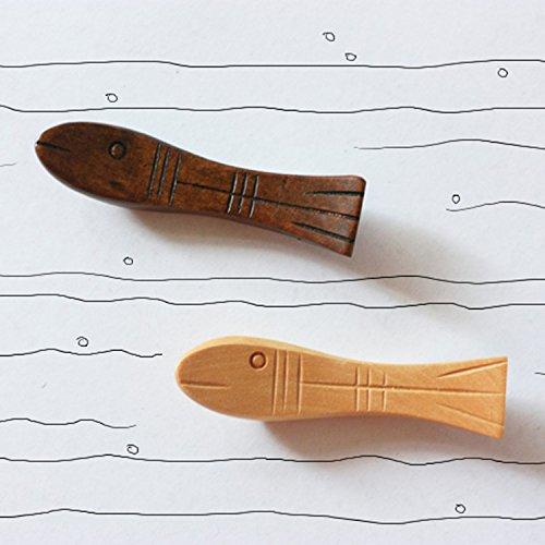 Japanese Natural Wooden Fish Shape Chopstick Rest Spoon Fork Knife Holder ,6 Pack (Q151011) - Fish Chopstick