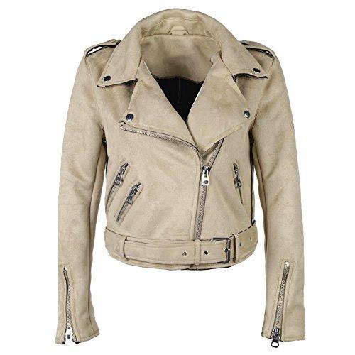 Highplus Jacket Coat Solid Color Winter Women Turn Down Collar Zipper Suede Short Jacket Coat Creamy-white