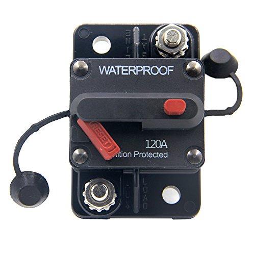 RKURCK 12V-48VDC 120A Waterproof Circuit Breaker with Manual Reset for Marine Trolling Motors Boat ATV 120Amp ()