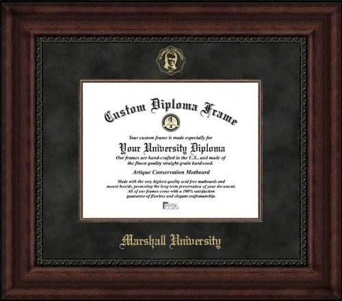 (Laminated Visuals Marshall University Thundering Herd - Embossed Seal - Suede Mat - Mahogany - Diploma Frame)
