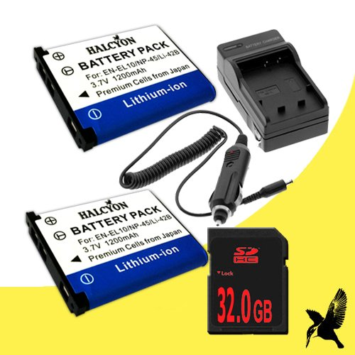 Two Halcyon 1200 mAH Lithium Ion Replacement Battery and Charger Kit + 32GB SDHC Class 10 Memory Card for Kodak Easyshare M583 14 MP Digital Camera and Kodak KLIC-7006 by DavisMAX