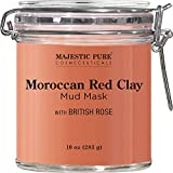 MAJESTIC PURE Moroccan Red Clay Facial Mud Mask with British Rose -...