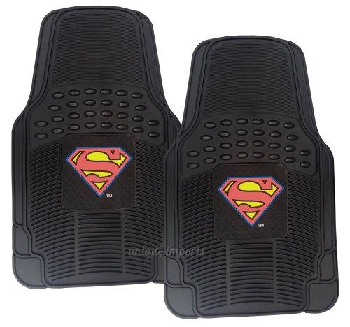 premium-waterproof-superman-rubber-floor-mats-classic-logo-on-2pc-front-black-heavy-duty-mats-dc-com
