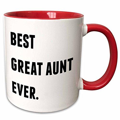 3dRose 213364_5 Best Aunt Ever, Black Letters On A White Background Mug, 11 oz, Red