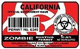 California Zombie Hunting Permit Sticker Size: 4.95x2.95 Inch (12.5x7.5cm) Cu...