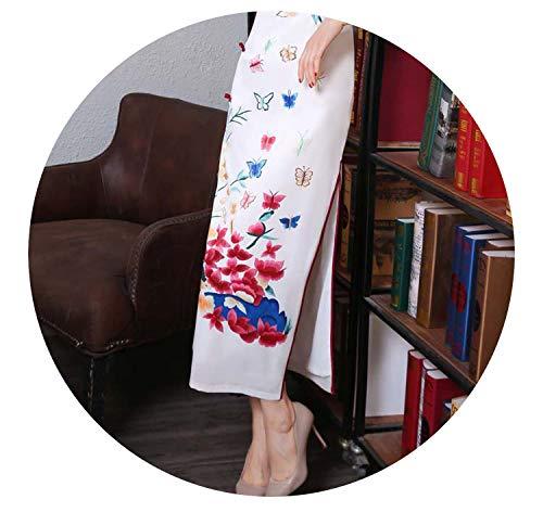 ゆでる軸光のチャイナドレス長いレトロシルク半袖カラーのショーセクシーオープンスリムプリント,白色,XL