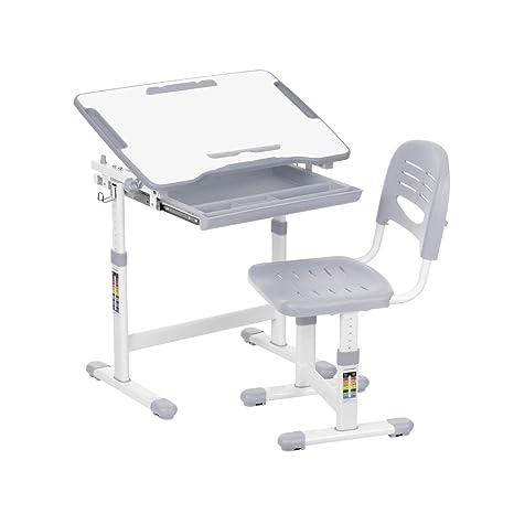 Juego de escritorio para niños con inclinación y silla con sujetarrollos de papel