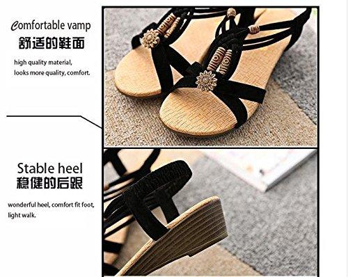 romanas bohemia cuña peep sandalias cómodas slingbacks zapatos verano Gaorui de negro toe verano de casual sandalias mujer T7wxZHq0WS