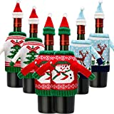 decorating wine bottles  6 Sets Christmas Wine Bottle Cover Knit Sweater Wine Bottle Dress Santa Reindeer Snowman Wine Bottle Cover for Christmas Decorations Christmas Sweater Party Decorations (Color 2)