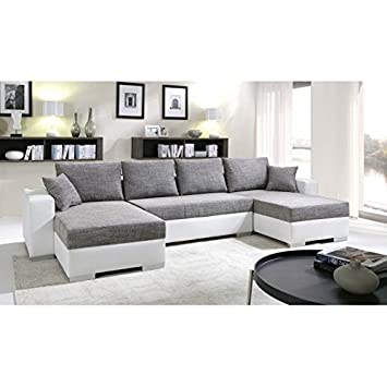 tendencio canap dangle convertible panoramique 5 6 places enno gris et blanc - Canape D Angle Gris Et Blanc
