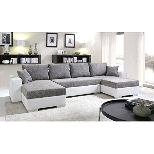 Canapé d angle convertible panoramique 5  6 places ENNO gris et
