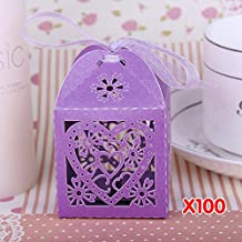 WITUSE 100Pcs hollow floral iridescent paper purple candy boxes wedding favour+ribbon