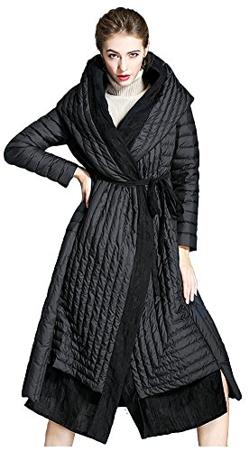 wanture Women's Winter Down Coat Outwear Packable Parka Puffer Jacket with Hood Bathrobe style Black US4(Bust41.7'') M by wanture