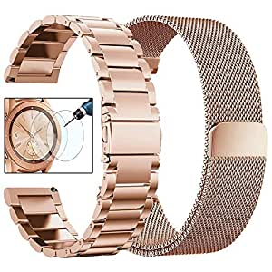 CAGOS Samsung Galaxy Watch (42mm) Bands Rose Gold Sets, 20mm 2 Pack Metal Band+Milanese Loop Mesh Bracelet Strap Galaxy Watch 42mm/ Garmin Vivoactive 3/ Ticwatch E Smartwatch - Rose Gold