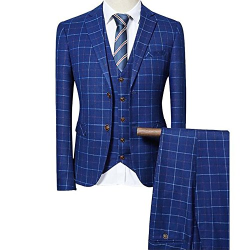Mens 3 Piece Pinstripe Slim Fit Wedding Suits Single Breasted Smart Formal