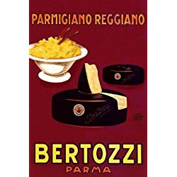 "CHEESE Parmigiano Reggiano Bertozzi Italy Italia Italian Kitchen Restaurant Art, Spaghetti Pasta Food 20"" X 30"" Image Size Vintage Poster Reproduction, We Have Other Sizes Available on Amazon"
