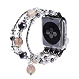 New Watch Band for Apple Watch Series 3, 2, 1, Bingkers Luxury Handmade Pearl Agate and Elastic Stretch Crystal Bracelet Strap Wristband Women Apple Watch iWatch 3/2/1 Band (Greay, 38mm)