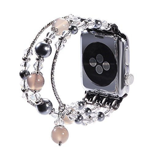 New Watch Band for Apple Watch Series 3, 2, 1, Bingkers Luxury Handmade Pearl Agate and Elastic Stretch Crystal Bracelet Strap Wristband Women Apple Watch iWatch 3/2/1 Band (Greay, 38mm) by BINGKERS