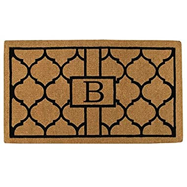 Home & More 180082436B Pantera Extra-thick Doormat, 24  x 36  x 1.50 , Monogrammed Letter B, Natural/Black
