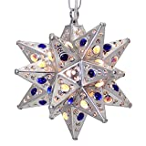 Moravian Star Light, Flower Pierced Tin, Silver with Marbles, 8''