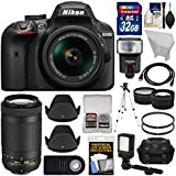 Nikon D3400 Digital SLR Camera & 18-55mm VR & 70-300mm DX AF-P Lenses 32GB Card + Case + Flash + Video Light + Tripod + Tele/Wide Lens Kit