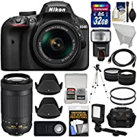 Nikon D3400 Digital SLR Camera & 18-55mm VR & 70-300mm DX AF-P Lenses with 32GB Card + Case + Flash + Video Light + Tripod + Tele/Wide Lens Kit