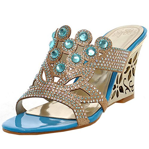 Mules Sandalias blue Mujer Verano Zanpa 2 ExCXwaqYt