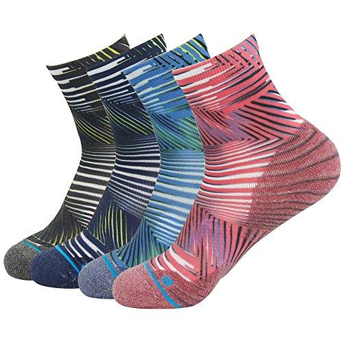 - Crew Hiking Socks for Men Women HUSO Dri-Fit Half Cushioned All Sports Quarter Walking Socks 4 Packs (Multicolor, L/XL)