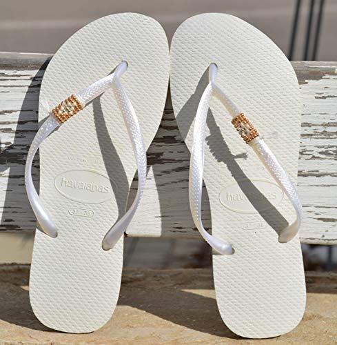 Wedding Flip Flops.Amazon Com Wedding Flip Flops For Women White Hippie Boho Gold