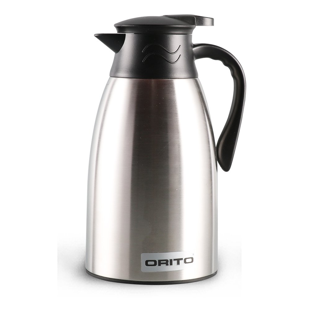 ORITO Coffee Thermos Stainless Steel Coffee Pot Carafe Double Wall Vacuum Insulated Thermal Coffee Carafe Hot Tea Pot and Water Dispenser,45 Oz(1.3Liter) Silver …
