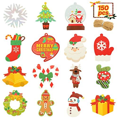 SallyFashion Christmas Gift Tags,150pcs 15 Shapes Glitter Snowflake Christmas Paper Hang Kraft Label with Free 150 Root String