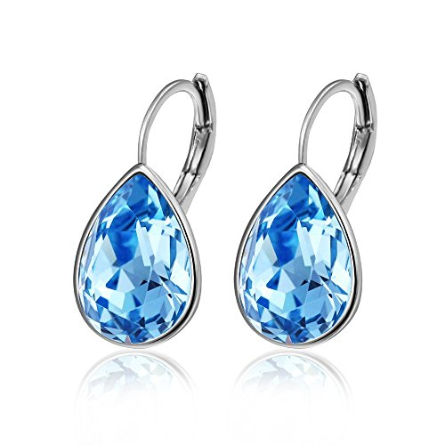 Xuping Christmas Women Gifts Beauty Water Drop Crystals from Swarovski Decorate Hoop Earrings Black Friday Jewelry (Blue Lake)
