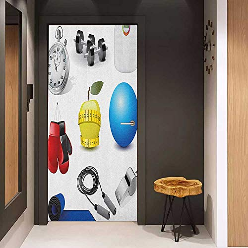 Onefzc Door Sticker Mural Fitness Realistic Vivid Workout Items Burning Calories Weight Loss Athletic Motivation WallStickers W35.4 x H78.7 Multicolor