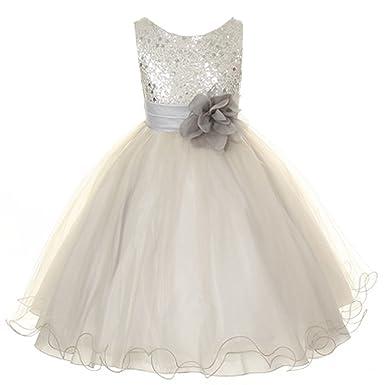 016477291 Amazon.com  Kid s Dream Baby Girls Silver Sequin Double Mesh Flower ...