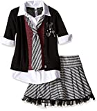 Beautees Big Girls' 2 Piece Collar Cuff with Skirt and Matching Tie, Black, Medium