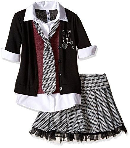 Beautees Big Girls' 2 Piece Collar Cuff with Skirt and Matching Tie, Black, M