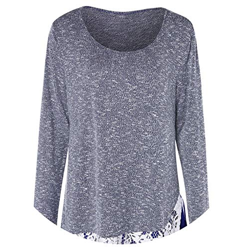 Lace Trim Tunic Knitwear Women Pullover Long Sleeve O-Neck Marled Casual,Lapis Blue,XXL
