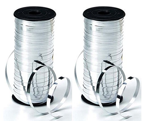 (2-PACK - Curling Ribbon - 5mm wide - Metalic Silver - 100 yards)