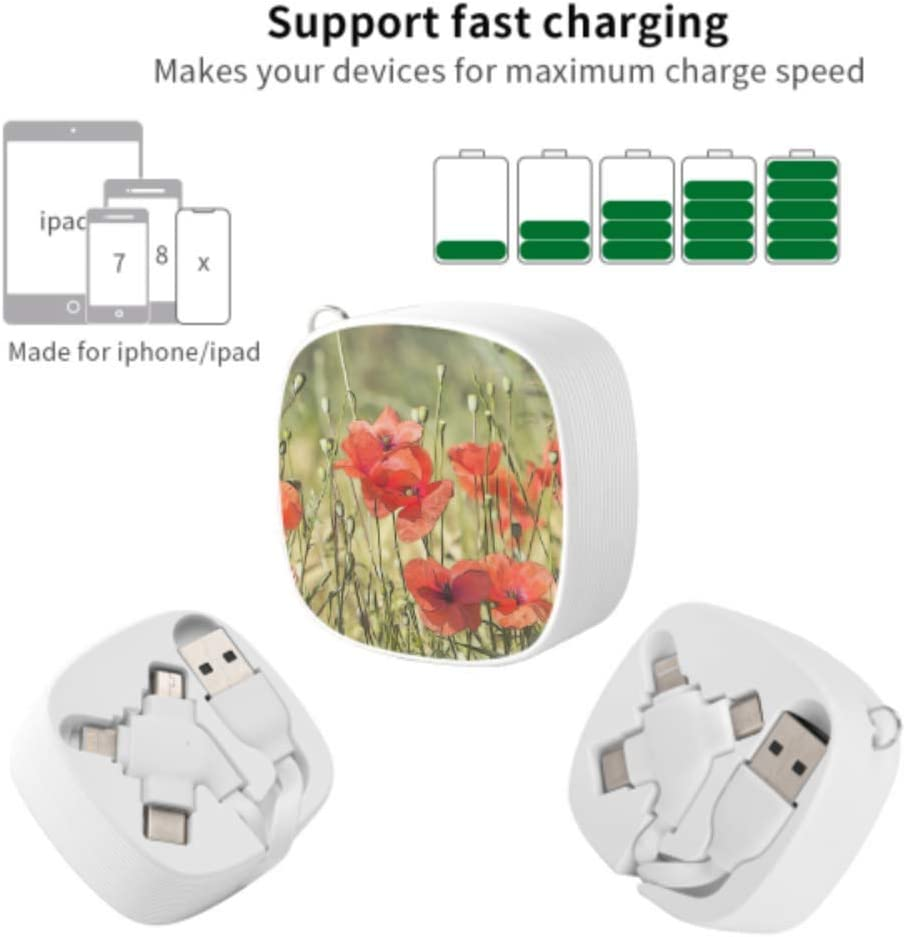 Multi USB Fast Charging Cable Poppies Flowers Poppy Red Plants Field Multi 3 in 1 Retractable USB Cable Charger with Micro USB//Type C Compatible with Cell Phones Tablets and More