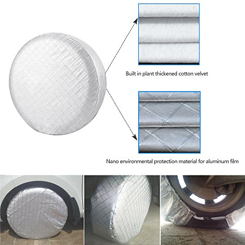 HEALiNK Tire Covers Set of 4 for RV Wheel Waterproof Oxford Tires Protector Covers for Motorhome Truck Trailer Camper Auto (27'' for Tire Diameter 68cm, Tire Width 25cm) by HEALiNK (Image #3)