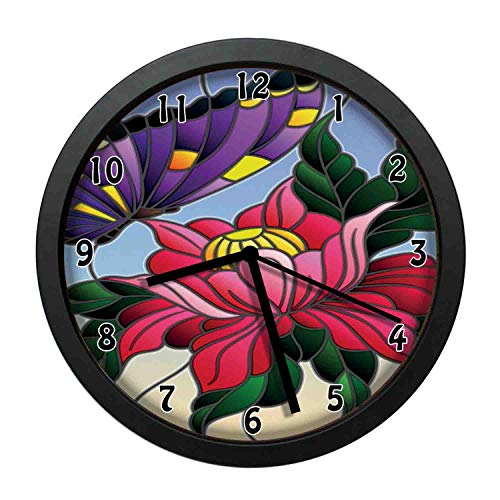 Aster, Stained Glass Pattern with Butterfly and a Flower Mosaic Garden Art Illustration,Multicolor Individuality Modern, Silent Non-Ticking Wall Clock for Living Room Home Office 12in Framed