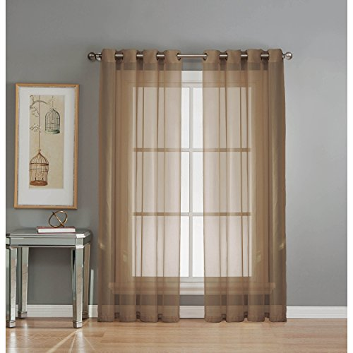 Window Elements Diamond Sheer Voile Extra Wide 56 x 84 in. Grommet Curtain Panel, Mocha (Window Covering Ideas)