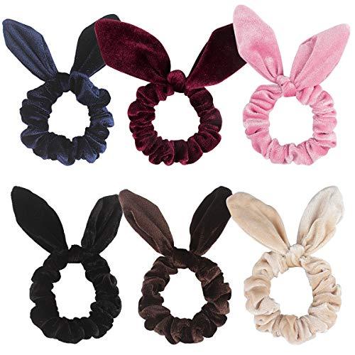 Didder 6 Pack Hair Scrunchy Rabbit Ear Hair Bow Bowknot Scrunchies Velvet Scrunchy Bobbles Elastic Hair Ties Bands Ponytail Holder, 6 Colors