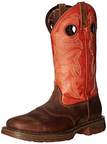 Durango Men's 12 Inch Western Workin Rebel Riding Boot, Brown/Orange, 8 M US by Durango