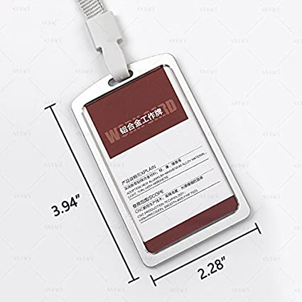 495739a7c1f09 Aluminum Alloy Metal ID Badge Holder ID Card Holder w White Elastic  Adjustable Neck Lanyard
