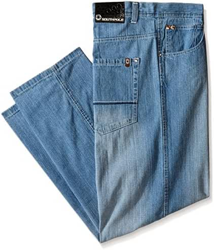 Southpole Men's Big & Tall Relaxed Fit Basic Sand Blasted Core Denim