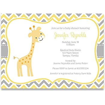 Amazon elephant baby shower invitations chevron stripes giraffe baby shower invitations chevron stripes gender neutral sprinkle yellow grey gray safari jungle personalized customized 10 printed invites filmwisefo